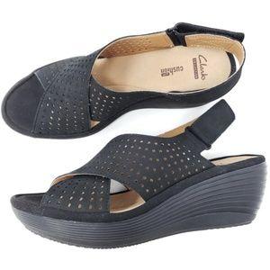 Clarks Slingback Wedge Sandals Perforated Peep